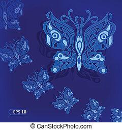 Blue butterflies in the night