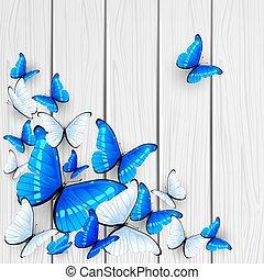 Blue butterflies on wooden background