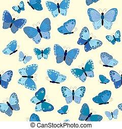 Blue butterflies seamless background
