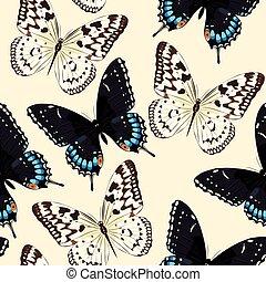 Blue butterflies seamless