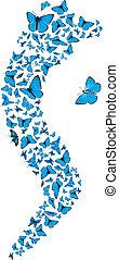 Blue butterflies swarm