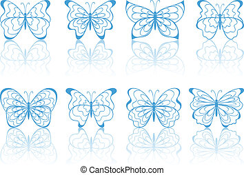 Blue butterflies.