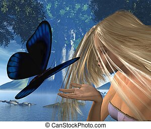 Blue Butterfly and Water Nymph