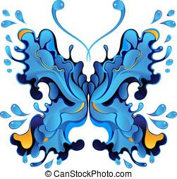 Blue butterfly-blot