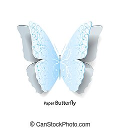 Blue butterfly cut out of paper.