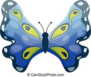 Blue butterfly icon, cartoon style