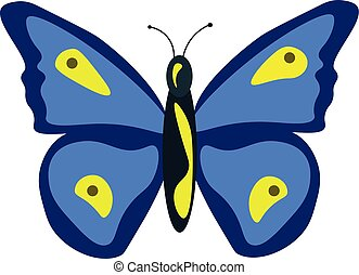Blue butterfly, illustration, vector on white background.