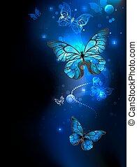 Blue, glowing butterflies on a dark background.