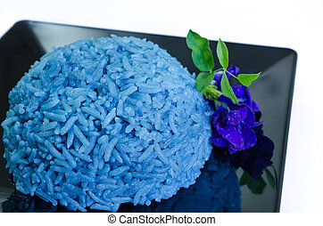 Blue Butterfly pea cooked rice - Rice cooked with blue...