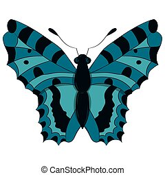 Blue butterfly. vector illustration. Drawing by hand.