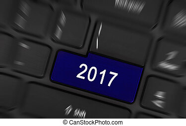 Blue button 2017 - Laptop keyboard with a blue button 2017