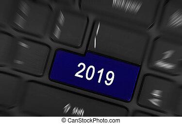 Blue button 2019