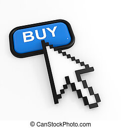 Blue button BUY with arrow cursor.