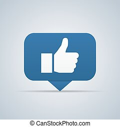 Blue button. Hand like icon. Vector illustration