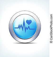 Blue Button Heart beat with Heart Symbol Healthcare & Pharma...
