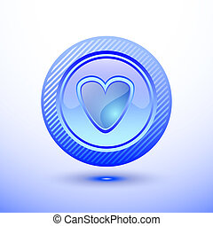 Blue button heart