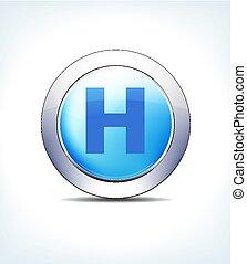 Blue Button Hospital Vector Icon - Blue Icon Button Hospital...
