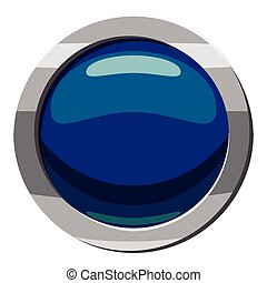Blue button icon, cartoon style