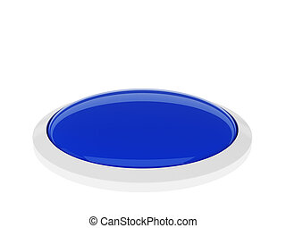 Blue button isolated on white background