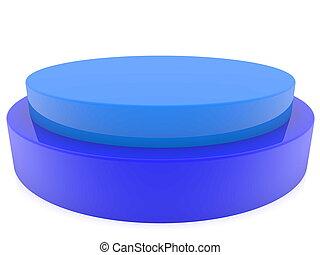 Blue button on white