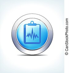 Blue Button Patient Chart, Records, Clipboard, Vector Icon