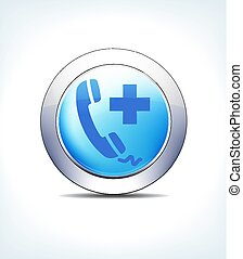 Blue Button Phone Call Help, Medical Assistance, Vector Icon