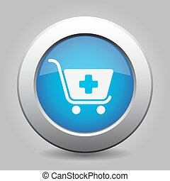 blue button - shopping cart plus