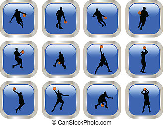 Blue button with basketball players