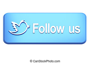 Blue button with bird and Follow Us text on white, 3d render...