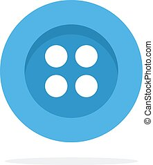 Blue button with four holes flat isolated