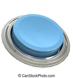 Blue button with metal ring