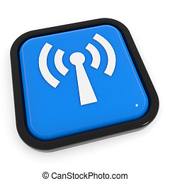 Blue button with WiFi antenna.
