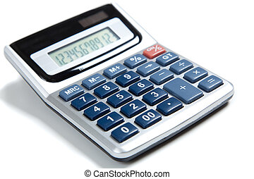 Blue buttoned calculator on white