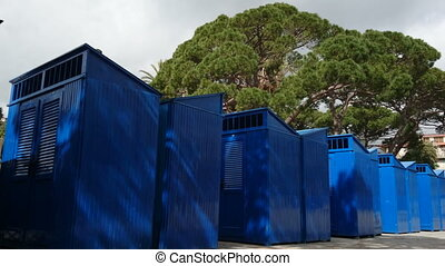 Blue cabins on the beach in Rapallo