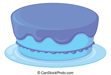 blue cake in a dish - Illustration of an isolated blue...