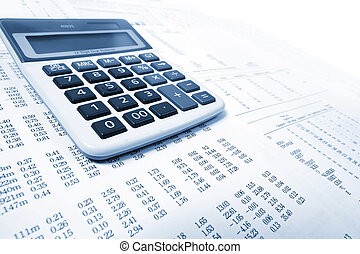 calculator - blue calculator and financial reports