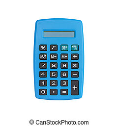 Blue calculator isolated on white