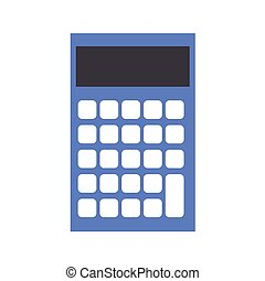 Blue Calculator on white background. Vector illustration in trendy flat style. EPS 10
