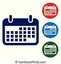 Blue Calendar icon isolated on white background. Vector Illustration
