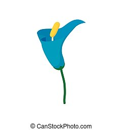 Blue calla icon, cartoon style