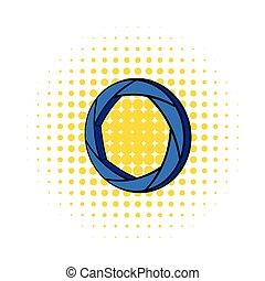 Blue camera aperture icon, comics style