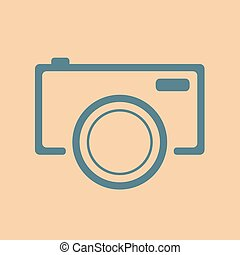 blue camera icon on orange background