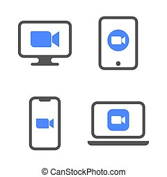 Blue camera icons - Live media streaming application for the phone, laptop, desktop and tablet pc conference video calls. EPS 10
