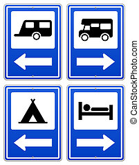 Blue Camp Sign - Road sign set with arrow under RV and...