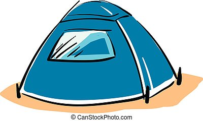 Blue camping tent vector illustration