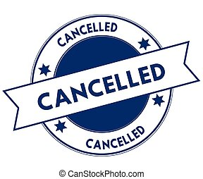 Blue CANCELLED stamp.