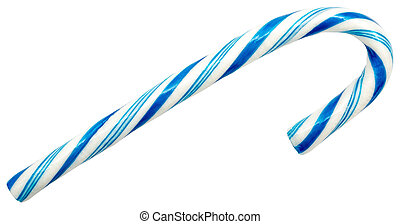 Blue Candy Cane Isolated On White
