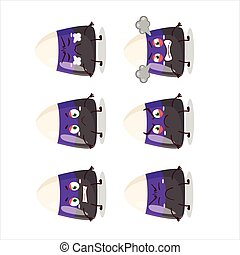 Blue candy corn cartoon character with various angry expressions