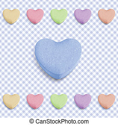 Blue candy heart - Candy heart background for new boy born...