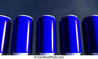 Blue cans against sky at sunset. Soft drinks or beer for party. Beach bar. 4K seamless loopable dolly clip